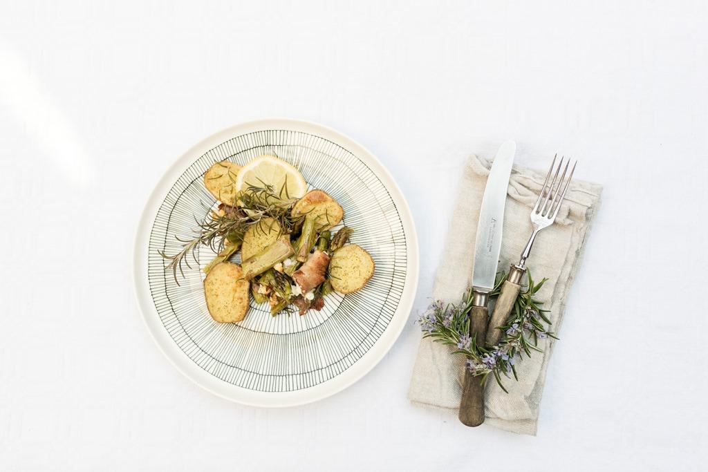 Rosmarinkartoffel, grüner Spargel, Rezept