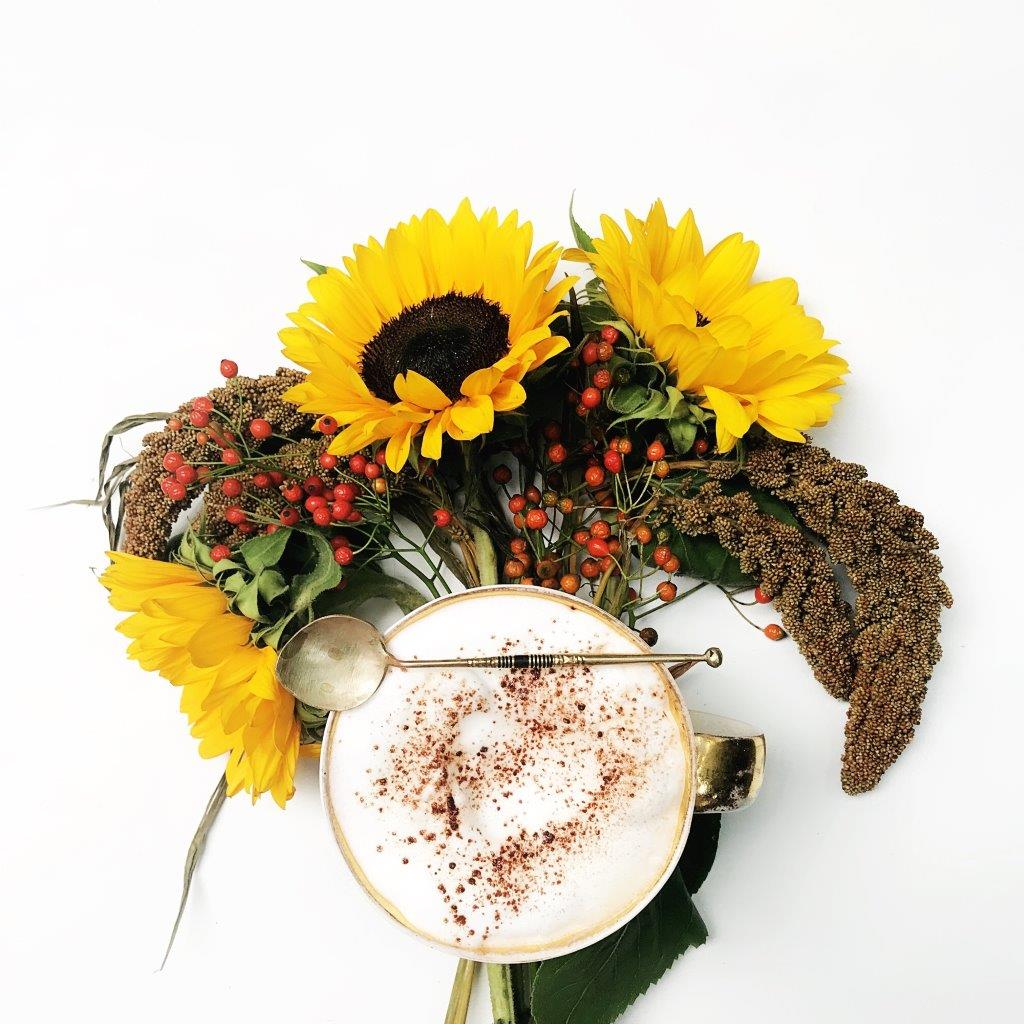 Sonnenblumen, hagebutten, hirse, kaffee