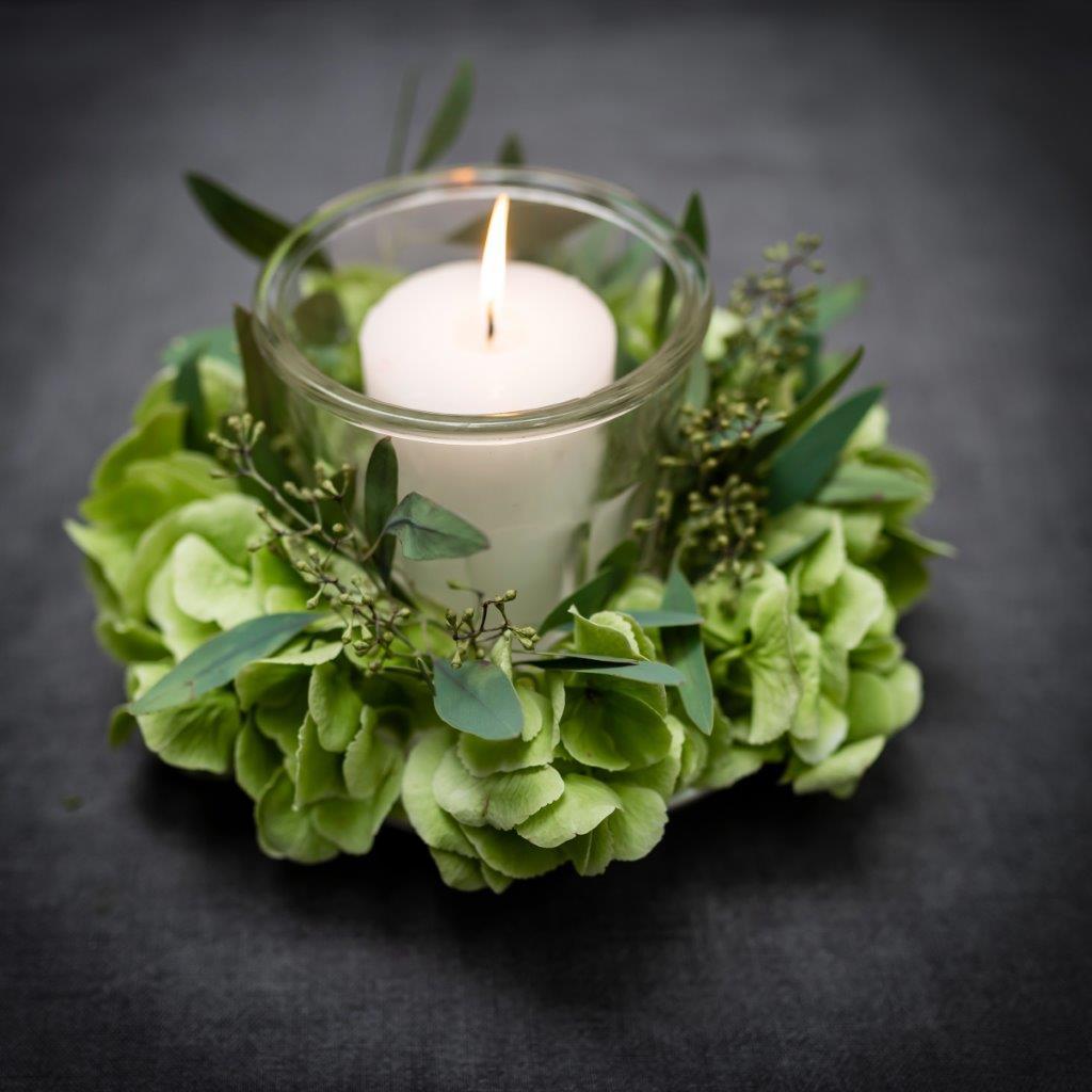 Windlicht, Hortensien, Kerzenlicht