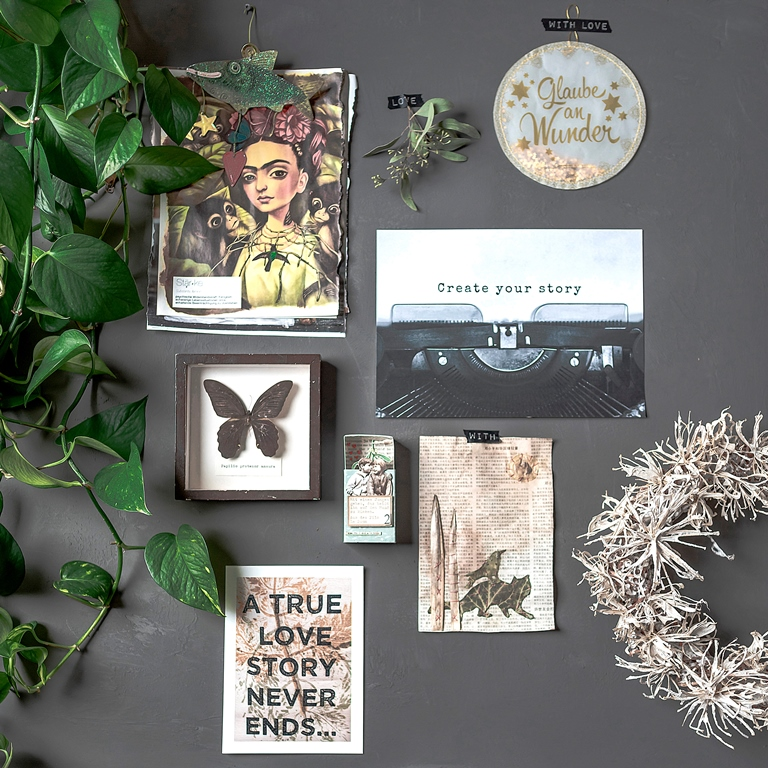 Moodboard mit dem Poster Create your story